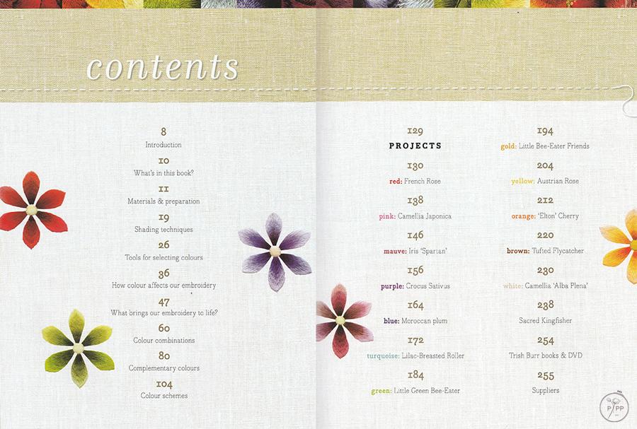 sommaire du livre colour confidence in embroidery de Trish Burr