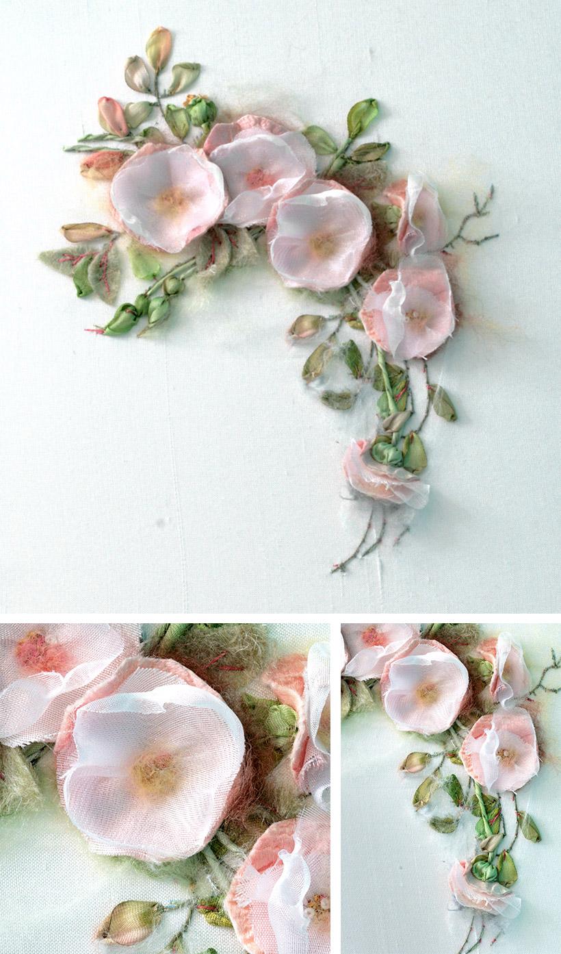 Wild rose and pink blossoms - Modèle de Di Van Niekerk - réalisation Patience et Petits Points