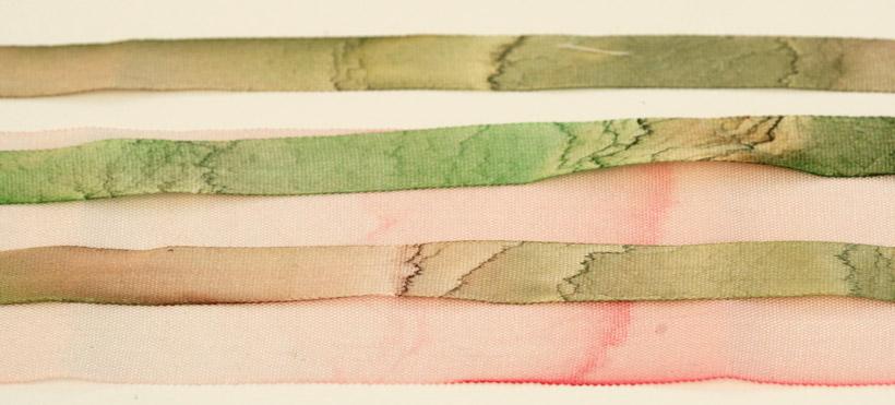 qualité de la teinture des rubans de soie dans les kits de Di van Niekerk
