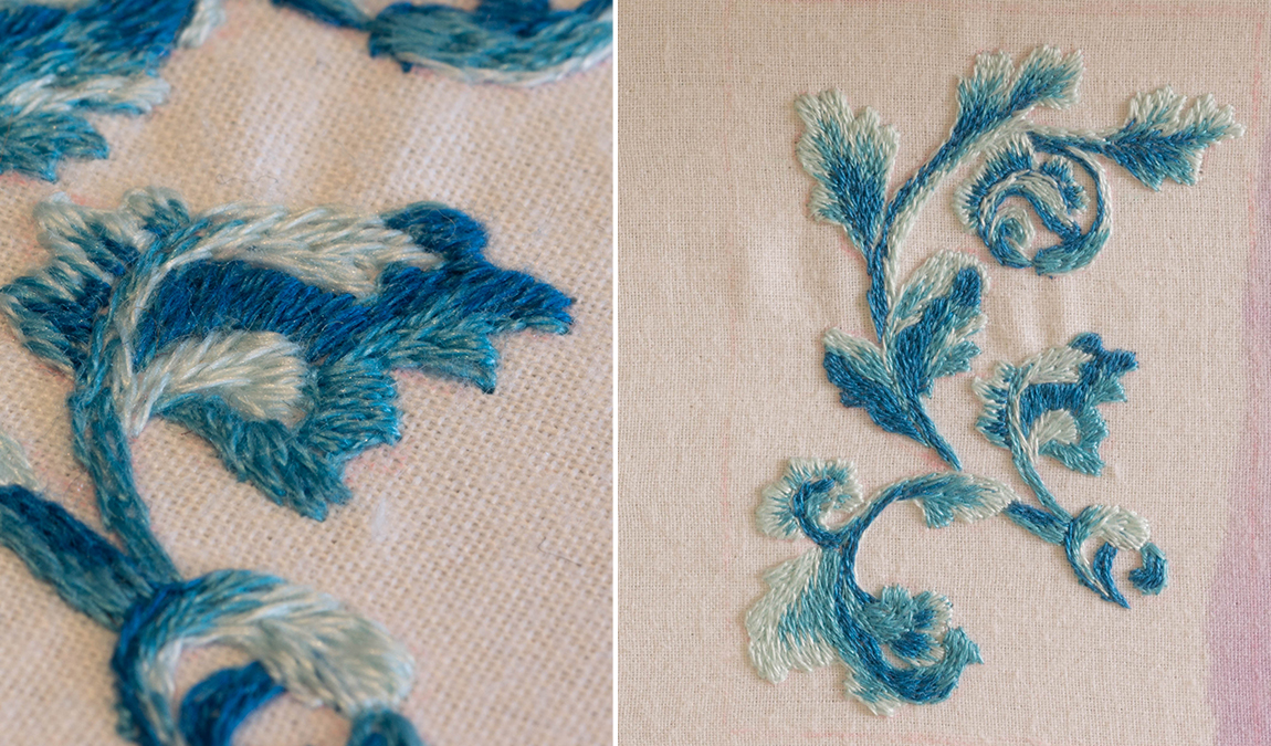 peinture à l'aiguille - courbes bleues - modèle de Sarah Homfray - Réalisation Marie hébert