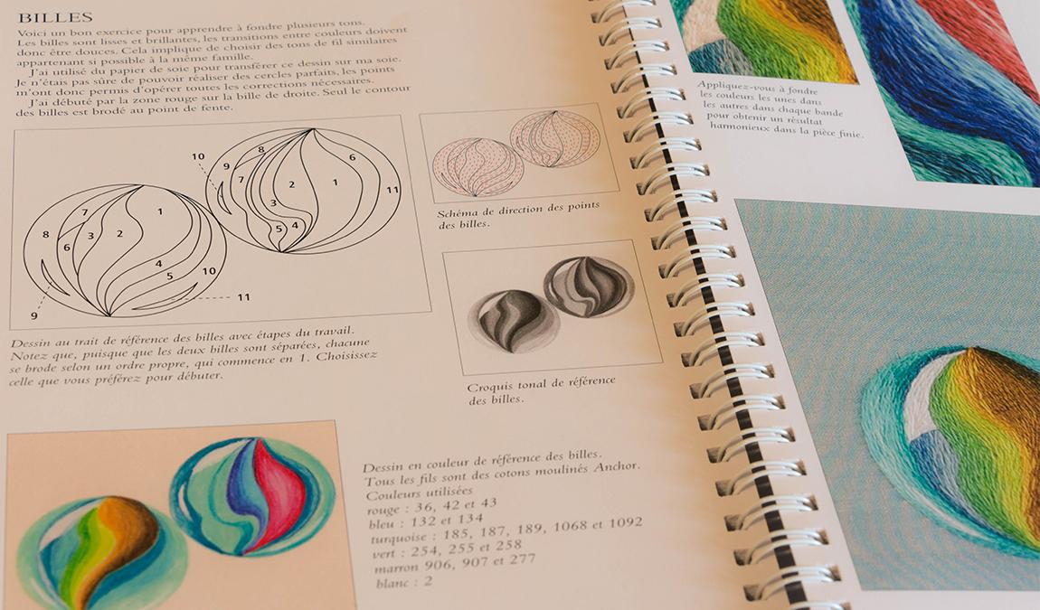 exemple de page du livre peinture à l'aiguille de Sarah Homfray