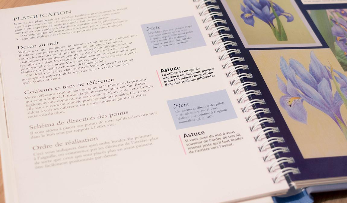 exemple page du livre peinture à l'aiguille de Sarah Homfray