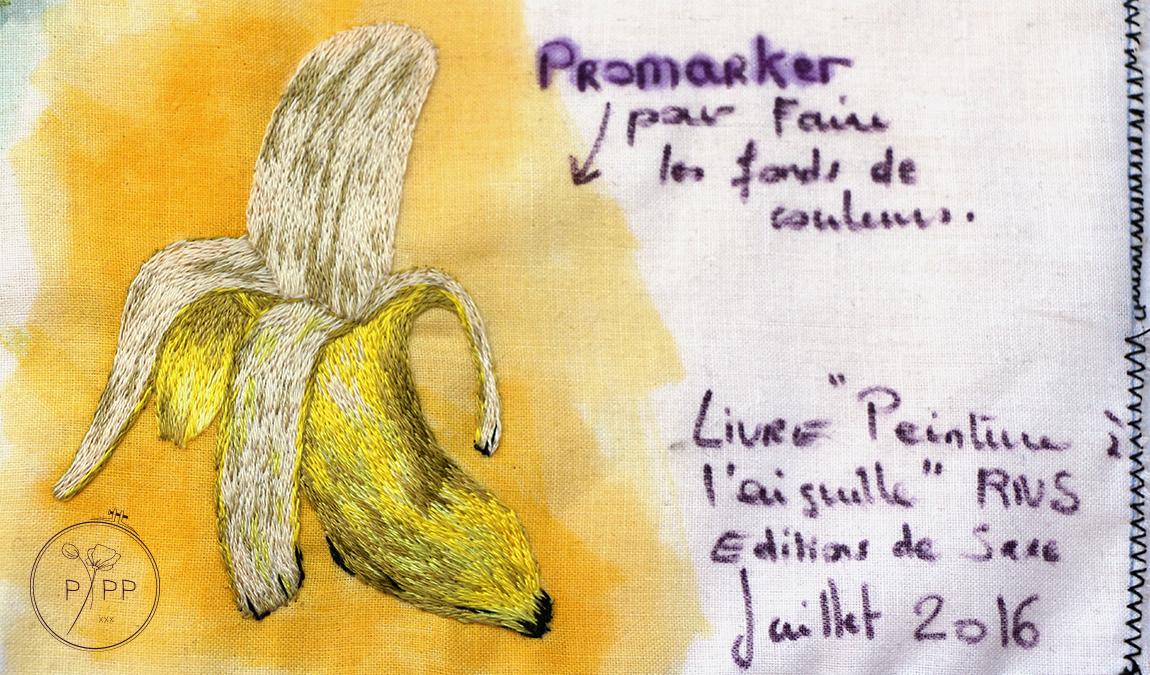 peinture à l'aiguille - banane - modèle de Sarah Homfray - réalisation Marie Hébert