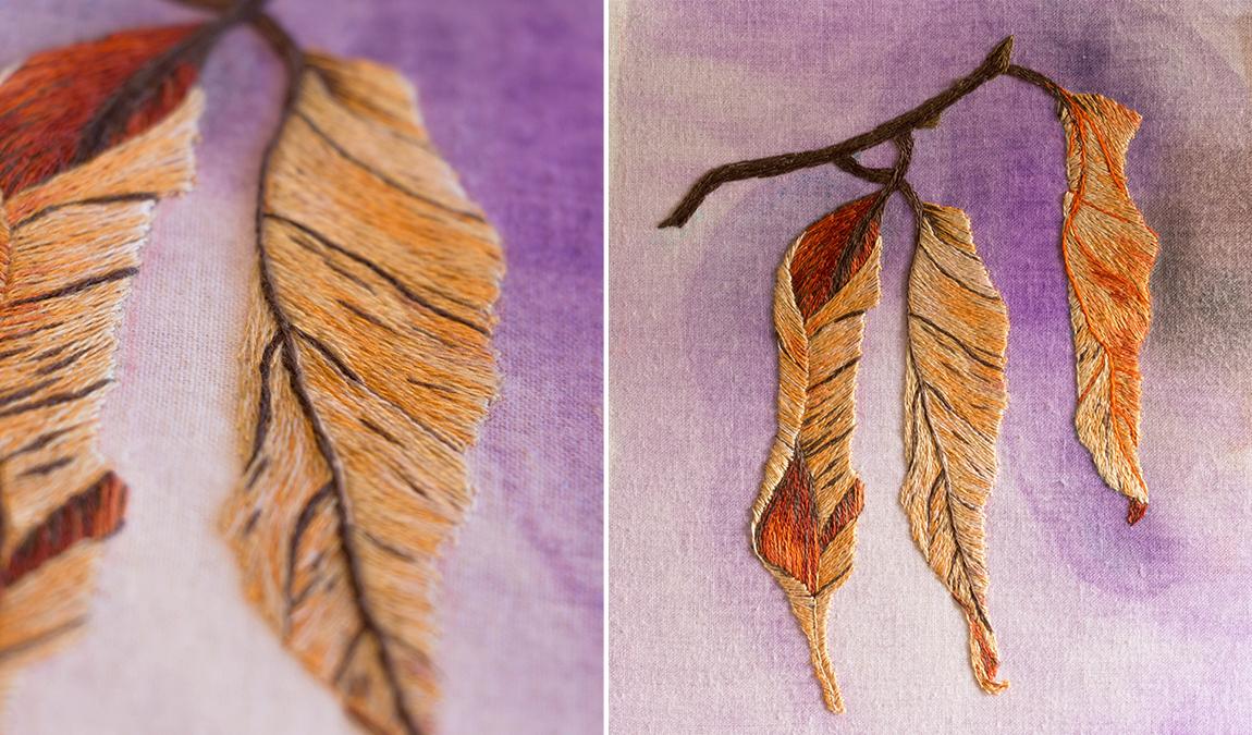 peinture à l'aiguille - feuille d'automne - modèle de Sarah Homfray - réalisation Marie Hébert