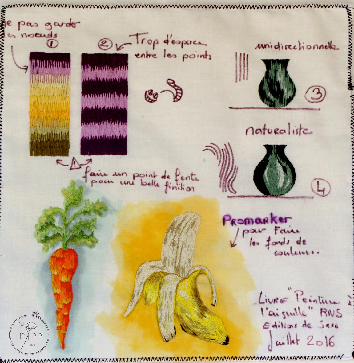 peinture à l'aiguille - planche d'exercices - modèles Sarah Homfray - Réalisation Marie Hébert