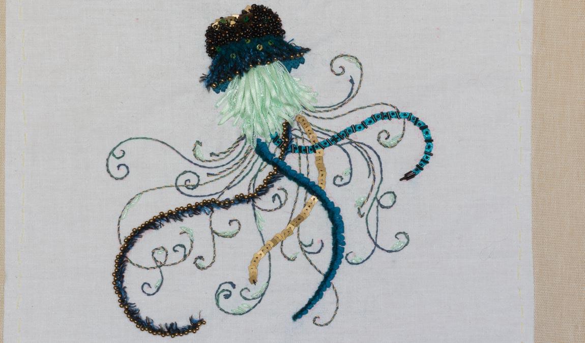 broderie méduse d'après un dessin de Johanna Basford