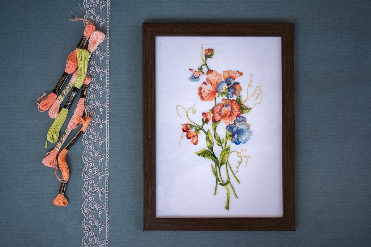 les pois de senteur orangés - modèle de Catherine Laurençon - réalisation Marie Hébert