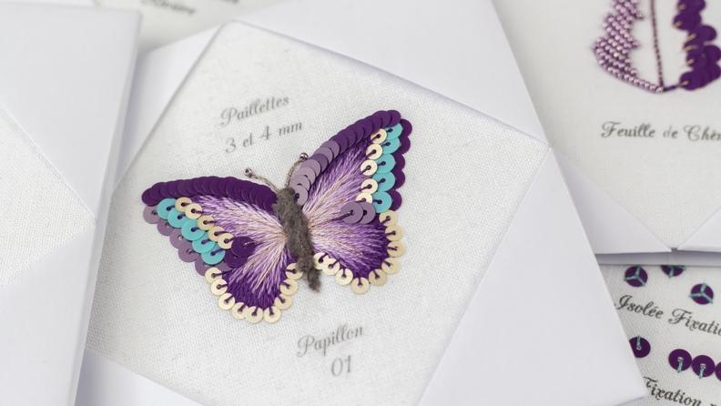 sampler d'étude - broderie papillon - modèle Jad Sampler - réaliser par Patience et Petits Points