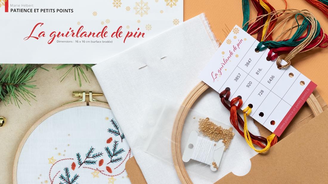 Contenu du kit guirlande de pin- modèle de broderie Noël disponible sur Patience et Petits Points