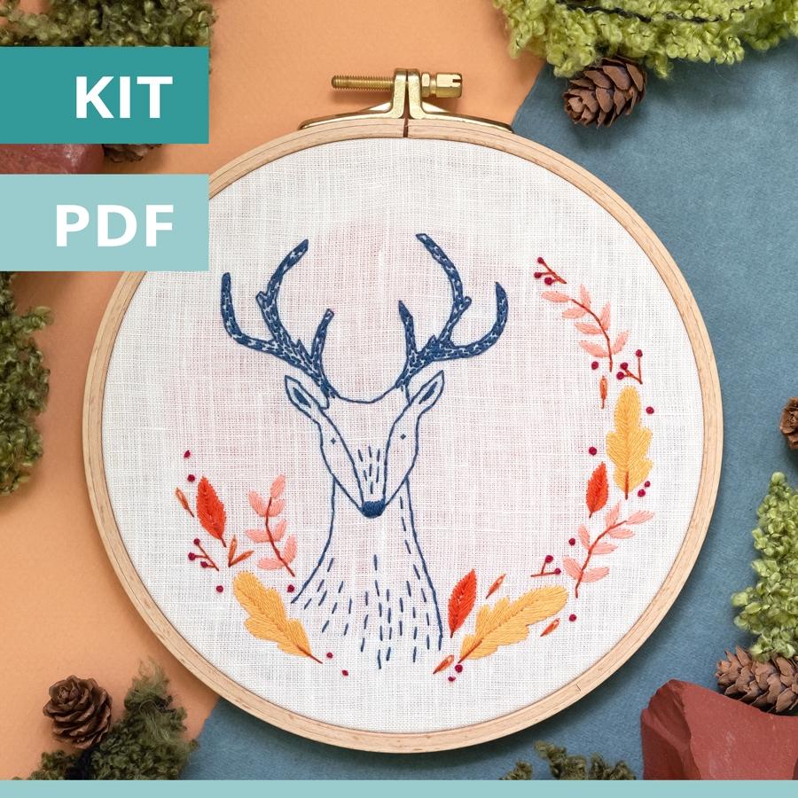 Modèle de broderie - sweet autumn - le chevreuil - disponible en kit et PDF sur Patience et Petits Points