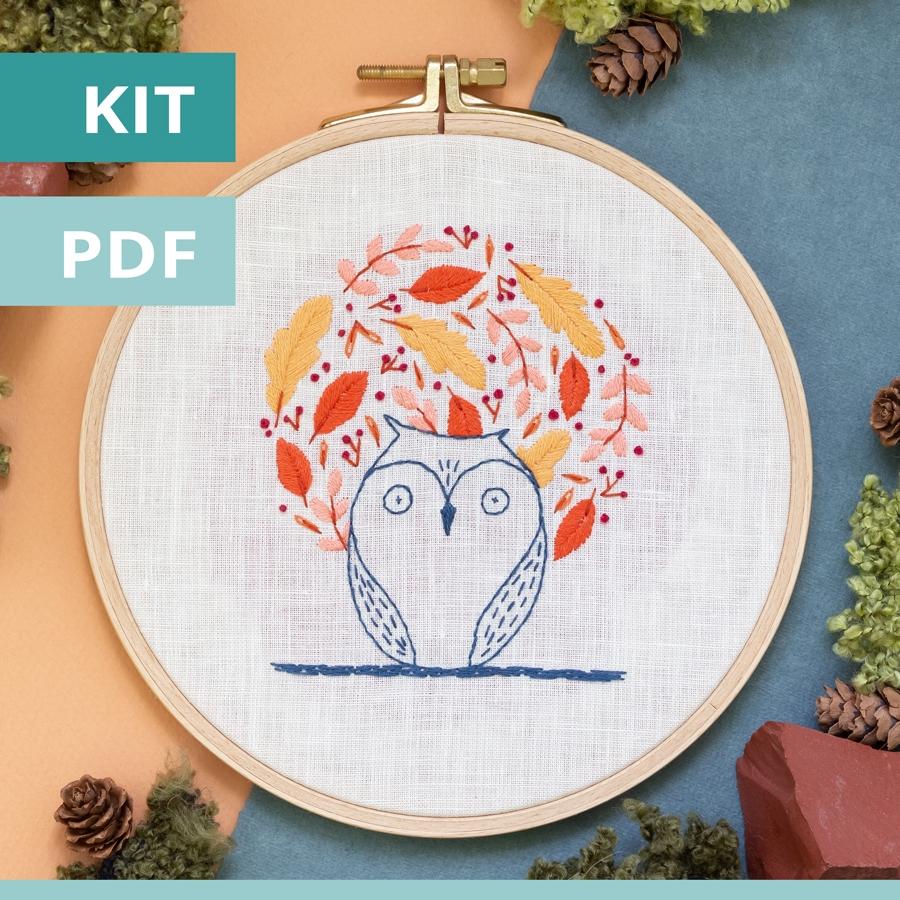 modèle de broderie - sweet autumn - chouette - disponible en kit et PDF sur Patience et Petits Points