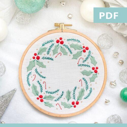 couronne de houx - modèle de Noël - PDF