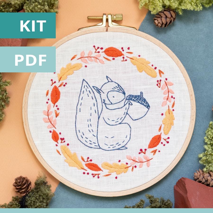 Modèle de broderie - sweet autumn - l'écureuil- disponible en kit et PDF sur Patience et Petits Points