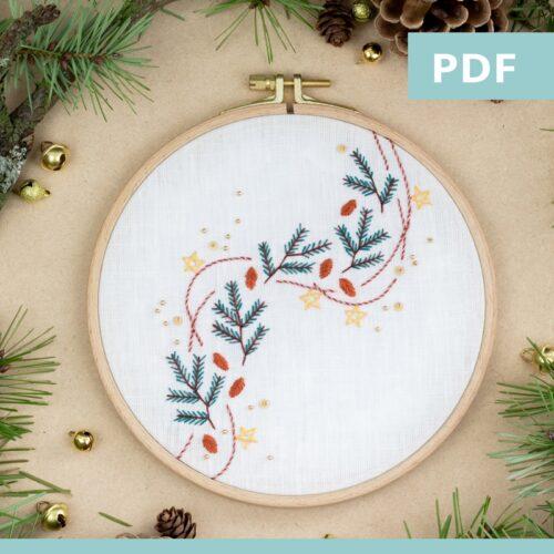 Guirlande de pin - modèle de broderie - Noël - PDF