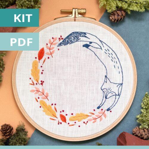 Modèle de broderie - sweet autumn - le renard - disponible en kit et PDF sur Patience et Petits Points