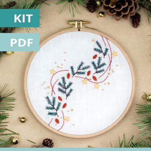Modèle de broderie Noël - la guirlande de pin - disponible en kit et PDF sur Patience et Petits Points