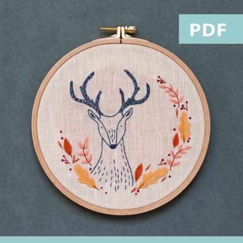 modèle de broderie - sweet autumn - chevreuil - PDF
