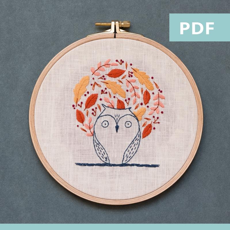 modèle de broderie - sweet autumn - chouette - PDF