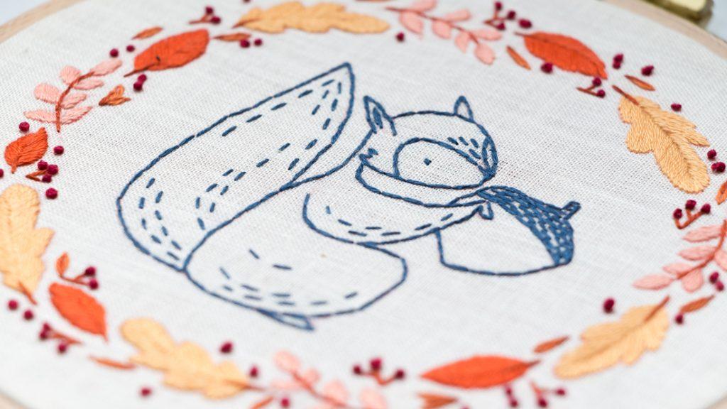 Modèle de broderie L'écureuil - Disponible en PDF ou Kit sur Patience et Petits Points