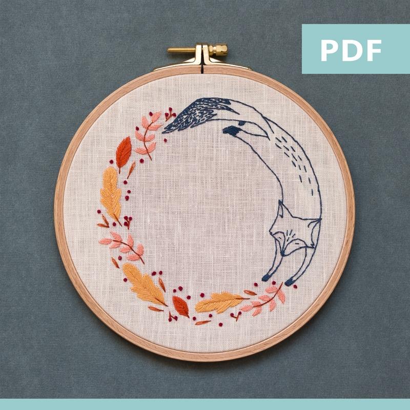 modèle de broderie - sweet autumn - renard - PDF