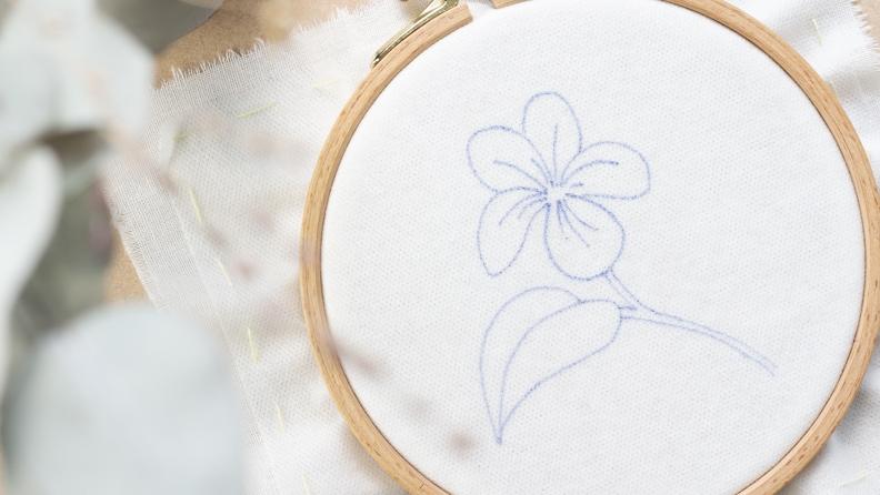 Le tissu avec le Solufix tendu dans le tambour.