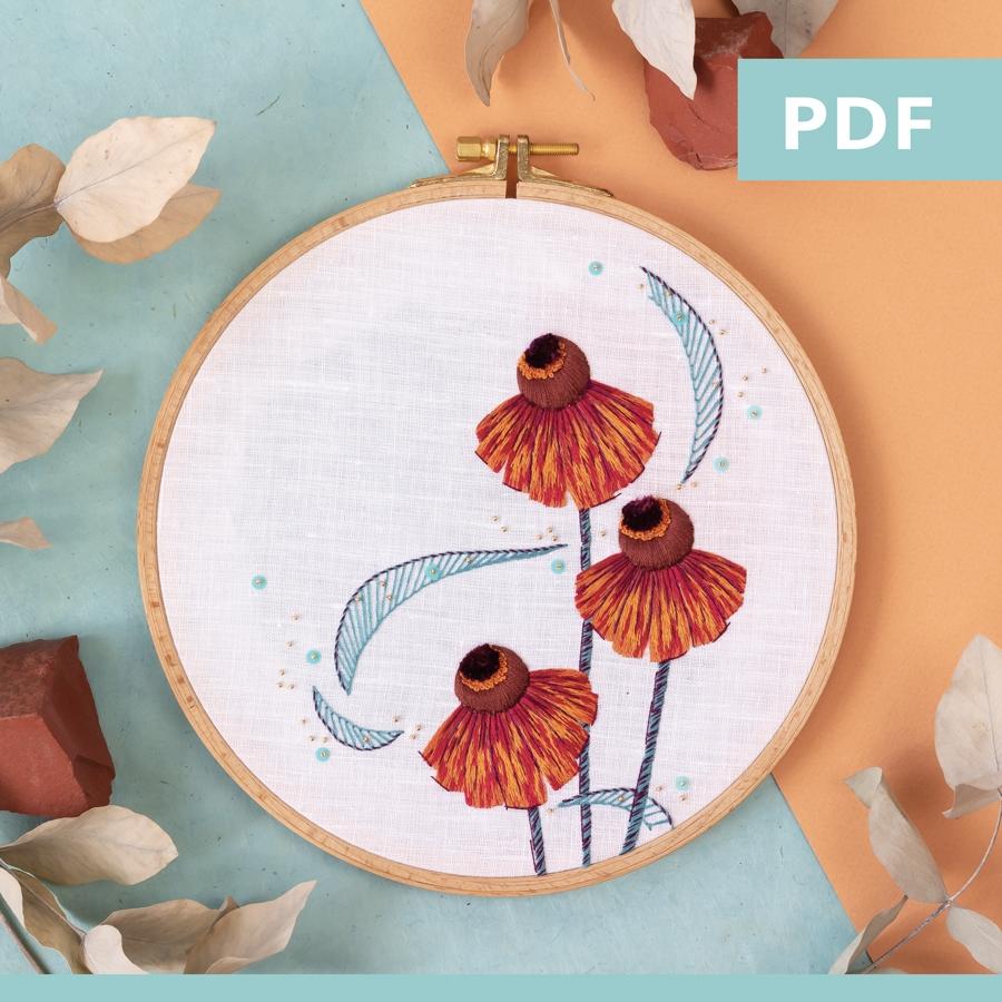 modèle de broderie PDF - hélénies d'automne