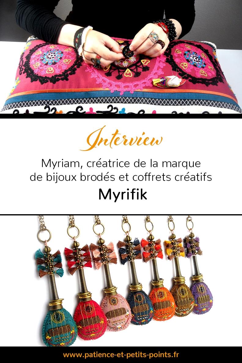 Bijoux brodés - Myrifik. Interview à découvrir sur Patience & Petits Points