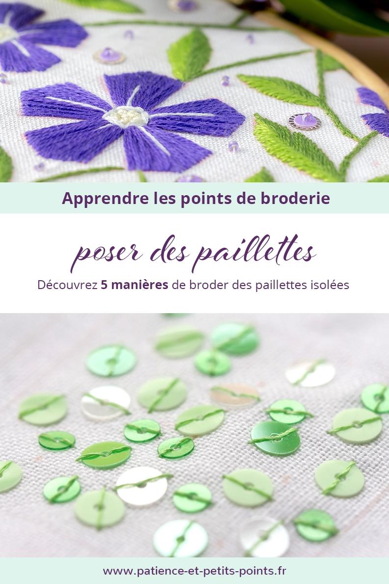 5 points de broderie pour apprendre à poser des paillettes isolées – www.patience-et-petits-points.fr