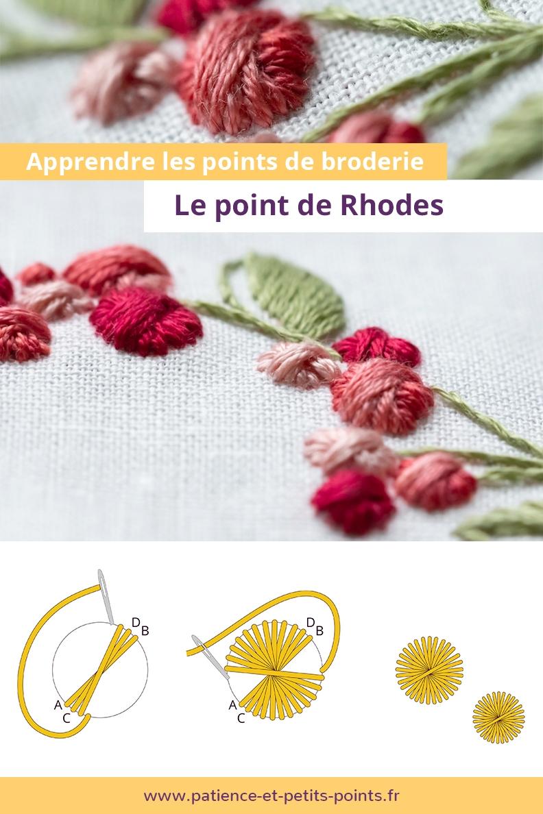 Découvrez le point de Rhodes grâce au petit modèle offert. Une vidéo vous accompagne dans la réalisation de la broderie.